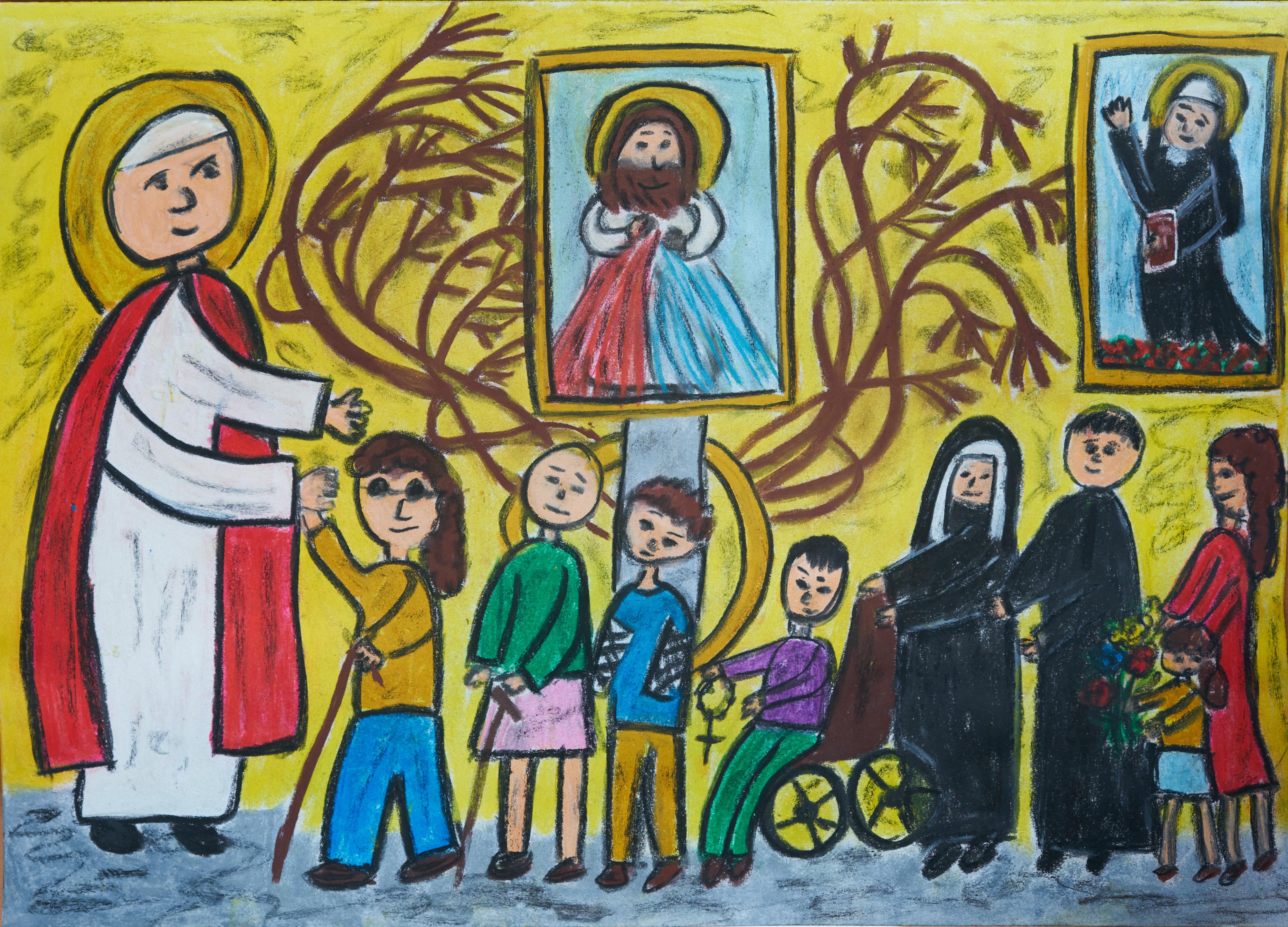 Konkurs PlastyczA: Św.  Jan Paweł II - Przyjacielem naszej rodziny, 100 lecie urodzin Św. Jana Pawła II. Wspólnota Modlitewna Św. Jana Pawła II w Wiedniu